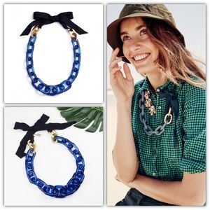J.Crew Blue Lucite Statement Necklace w Ribbon